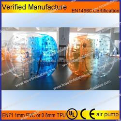 HOT!!PVC/TPU bubble football,hot sale popular inflatable bumper ball for kids