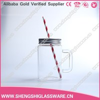 420ml Promotional empty clear drinking glass jar with aluminium cover