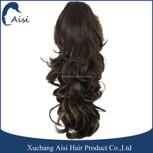 Top quality two tone color hair extension long wavy wave hair claw clip ponytail