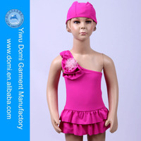Lovely Girl Flower Decoration One Piece Kids Swimwear With Cap / WWW Com Hot Girl Sex / Beauty Sexy Girls Photoes