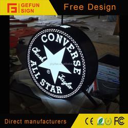 Storefront Acrylic signage Aluminium Frame Round LED Advertising Light Box
