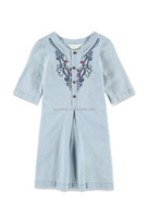 embroidy placket chambary A Line Dress for girls