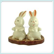 figurine ceramic animal salt pepper cute white rabbit miniature porcelain home decor
