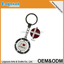 Logoson spinning design Denmark Map Key Chain