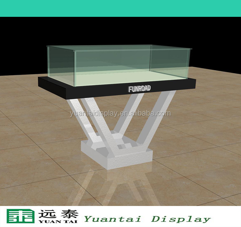 Fashion design wooden glass jewelry display table stand for Showcase table design