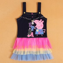 PEPPA New style fashion dress for sweet Gray Girls Z201 color :dark blue(2T-6T)