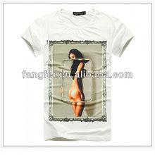 2014 moda nu menina de verão branco camiseta for men