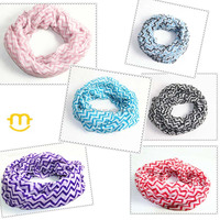 Women Infinity Scarf Color Block Chunk Circle Wrap wave pattern scarf