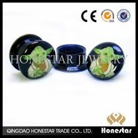 Logo Acrylic Ear Plugs Screw Fit Ear Gauges Flesh Tunnels