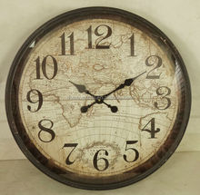 round antique black framed wall clock with map