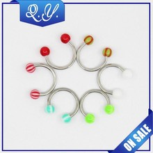 316L stainless steel nose ring with colored horseshoe