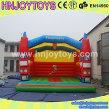 Inflatable Fire Alarm Kids Trampoline, Jumping with Bouncy Castle, Fire Truck Bouncer