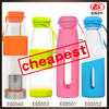 Whoelsale transparent BPA Free unique unbreakable the best glass water bottle with silicone