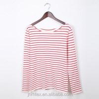 New custom stripe 100% cotton long sleeve t shirt design for woman