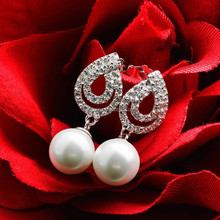 E7019932R Popular Elegant Zircon Peal Earring 925 Sterling Silver Plated Platinum With Austria crystal Fashion Jewelry Wholesale
