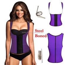purple Color Latex Rubber Waist Cincher Sports Vest Shapewear Strap