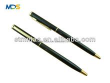 slim ballpoint pen, promotional hotel pen, metal pen, thin twist metal ball pen MDS-B2047
