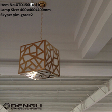 E27 iron cube modern indoor decorative hanging pendant light for restaurant bar coffee shop shopping mall