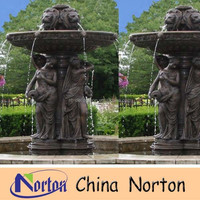 large casting bronze lady and lion head fountain NTBF-L211S