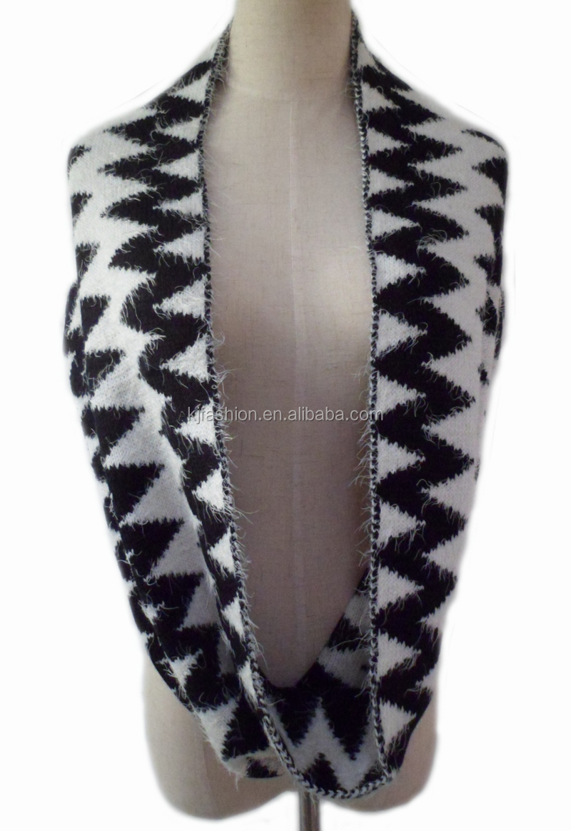 New Fashion Feather Yarn For Knitting A Aztec Pattern Infinity Scarf Wholesal...