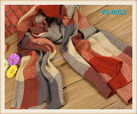Fashion popular color plaid long scarf winter thick warm knit scarf for girls .
