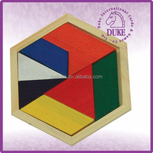 Hexagon & eight-pieces puzzle wooden tangram for kids