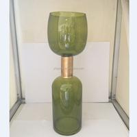 green color tall 2 tier unique design glass wine decanter