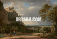 Classical Landscape with Figures and Sculpture, 1788 By Pierre-Henri de Valenciennes Neoclassicism Decorative Painting