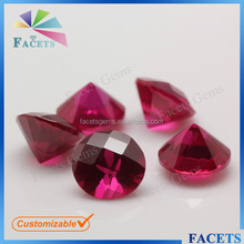 FACETS GEMS Wholesale Factory Price Round Faceted Cut Red Ruby