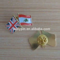 UK and Lebanon flags chest lapel pin badge