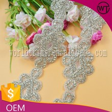 Pretty flower design rhinestone applique wedding belts for bridal WRC78