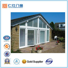 Renshi brand good quality aluminum lowes multi folding door with blinds inside