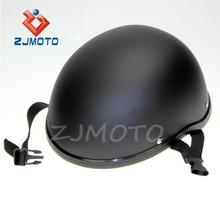ZJMOTO Custom Low Profile Matt Black Bobber Open Face Biker Novelty Helmet OPEN FACE HELMET
