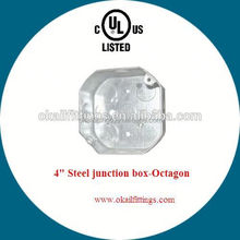 """Canadian style hot sale 4""""Octagonal tin-based outlet box with NEW cable clamp"""