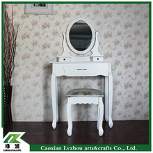 Solid wood dresser/dressing table/toilet table with stool and mirror for bed room in EU / US / ASIA