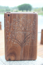 High Quality Walnut Wooden Case for iPad Mini Big Tree Case in Stock