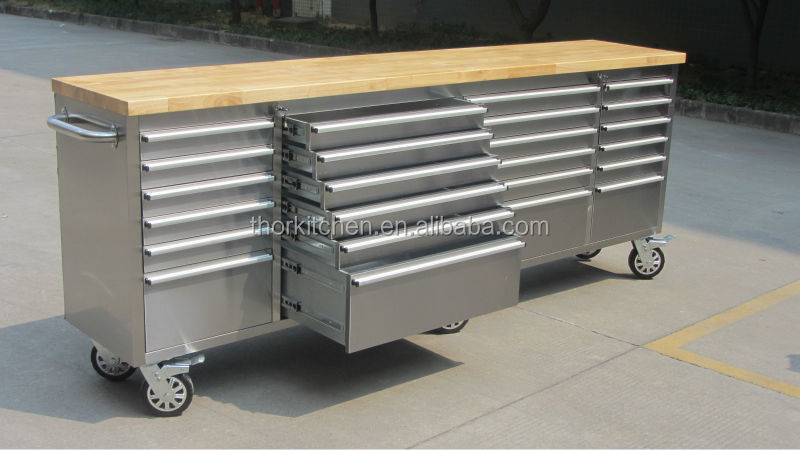 Heavy duty stainless steel workbench tool chest 96 inch for Bench tool system