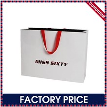 Factory price custom luxury logo printed paper bags with ribbon handles