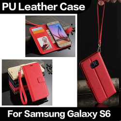China Manufacturer Wholesale Pouch Pocket Stand Wallet PU Leather Case for Samsung S6