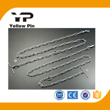 welded link chain lead with t handle pet chain dog chain made in China with snap hook