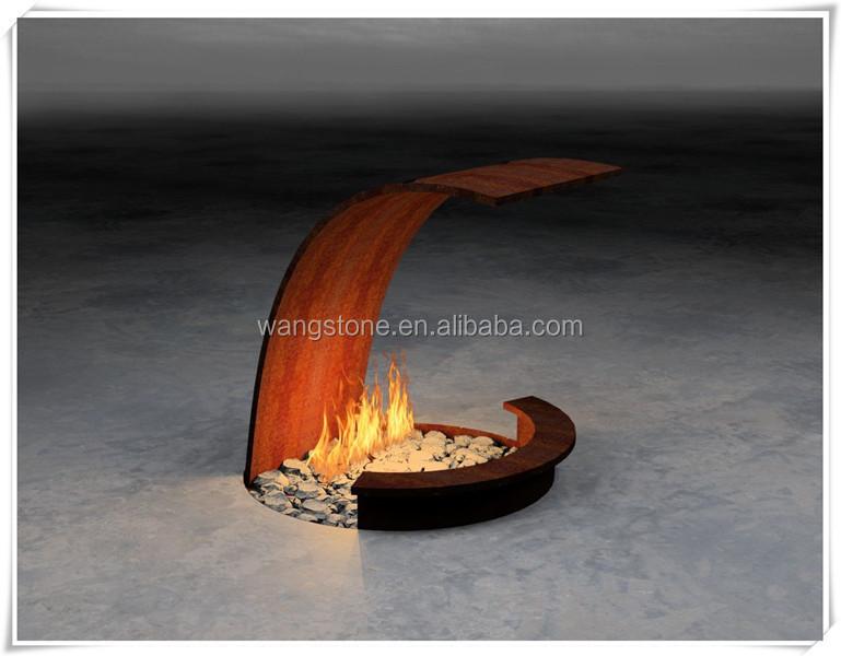 WS-CS427.jpg - Handmade Wrought Small Corten Steel Fire Pit Sculpture, View Small