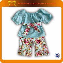Stylish baby cotton clothes outfit top+flower pants set many designs choose girls clothes with belt