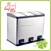 36L recycled Foot Pedal Structure And Eco-Friendly Feature 3 Compartment Waste Bin Trash Bin /HBS3002