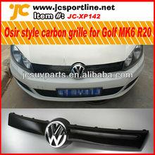 osir estilo de fibra de carbono de la rejilla del coche para vw golf mk6 r20 parrilla frontal