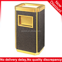 Hotel supplies eco friendly lobby ashtray square Faux leather dustbin cover, indoor trash bin