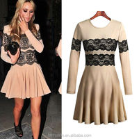 Hot Sale Flower Printed Black Lace fluffy dress for women