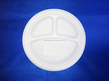 10'' 3-Com starch disposable biodegradable plate starch plate disposable plate
