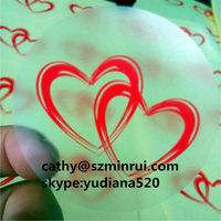 clear vinyl stickers red heart printed sticker,custom adheisve type and high quality Pantone code printing vinyl stickers