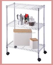 3 tier metal rack ,chrome metal storage