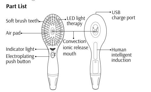 2016 Newest Arrival Ionic Massage Vibrating LED Hair Brush